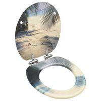 vidaXL Klozeto sėdynė su soft-close dangčiu, MDF, paplūdimio dizaino