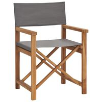 vidaXL Režisieriaus kėdė, pilkos spalvos, tikmedžio medienos masyvas