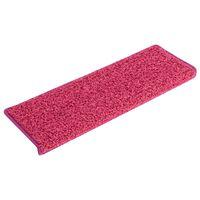 vidaXL Laiptų kilimėliai, 15vnt., rožinės spalvos, 65x25cm