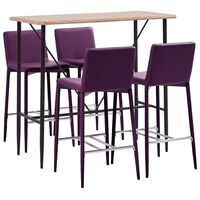 vidaXL Baro baldų komplektas, 5 dalių, violetinis, dirbtinė oda