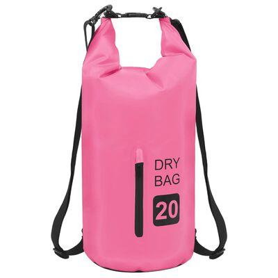 vidaXL Vandeniui atsparus krepšys su užtrauktuku, rožinis, PVC, 20l