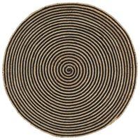 vidaXL Kilimas, juodas, 120cm, džiutas, rankų darbo, spiralės dizainas