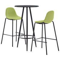 vidaXL Baro baldų komplektas, 3 dalių, žalios spalvos, audinys