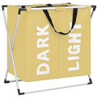 vidaXL 2 skyrių skalbinių rūšiavimo krepšys, kreminės spalvos