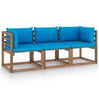 vidaXL Trivietė sodo sofa iš palečių su mėlynomis pagalvėlėmis, eglė
