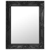 vidaXL Sieninis veidrodis, juodos spalvos, 50x60cm, barokinis stilius