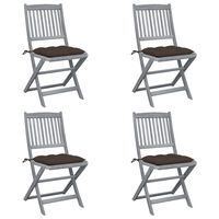 vidaXL Folding Outdoor Chairs 4 pcs with Cushions Solid Acacia Wood (46336+314885)