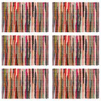 vidaXL Stalo kilimėliai, 6 vnt., spalvoti, 30x45cm, perdirbta medvilnė