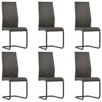 vidaXL Gembinės valgomojo kėdės, 6 vnt., rudos, dirbtinė oda