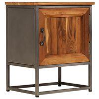 vidaXL Naktinis staliukas, 40x30x50cm, perdirbtas tikmedis ir plienas