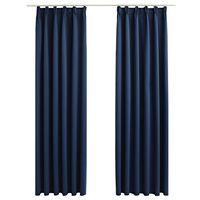 vidaXL Naktinės užuolaidos su kabliukais, 2vnt., mėlynos, 140x225cm