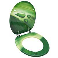 vidaXL Klozeto sėdynė su dangčiu, MDF, su žaliais vandens lašais