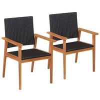 vidaXL Lauko kėdės, 2 vnt., poliratanas, juodos ir rudos