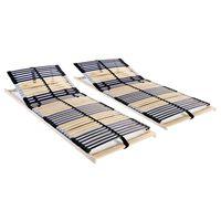 vidaXL Grotelės lovoms su 42 lentjuostėmis, 2vnt., 80x200cm, 7 zonos