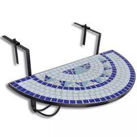 vidaXL Pakabinamas balkono stalas, mėlynos ir baltos sp., mozaik.
