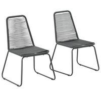 vidaXL Lauko kėdės, 2vnt., juodos, poliratanas