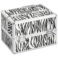 vidaXL Kosmetinis lagaminas, 22x30x21 cm, aliuminis, su zebro raštu