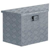 vidaXL Aliuminio dėžė, 70x24x42cm, trapecijos formos, sidabrinė