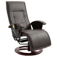 vidaXL Masažinis krėslas, rudos spalvos, dirbtinė oda
