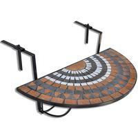 vidaXL Pakabinamas balkono stalas, terakotos ir balta sp., mozaik.
