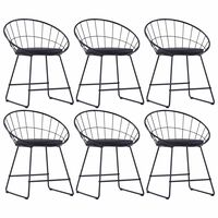 vidaXL Valgomojo kėdės su dirbt. odos sėd., 6vnt., juodos, plienas