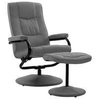 vidaXL Atlošiamas krėslas su pakoja, šviesiai pilkos spalvos, audinys