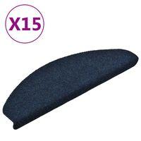 vidaXL Lipnūs laiptų kilimėliai, 15vnt., tamsiai mėlyni, 65x21x4cm