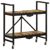 vidaXL Virtuvės vežimėlis, 87x36x81cm, perdirbtos medienos masyvas