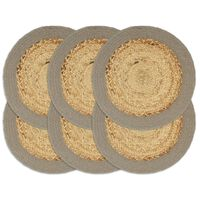 vidaXL Stalo kilimėliai, 6vnt., natūralios ir pilkos spalvų, 38cm