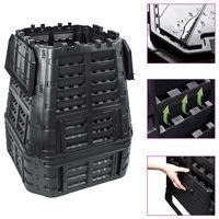 vidaXL Sodo komposto dėžė, juoda, 93,3x93,3x113cm, 740 l