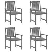vidaXL Režisieriaus kėdės su pagalvėlėmis, 4vnt., pilkos, akacija