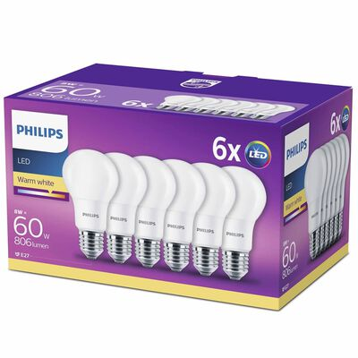 Philips LED lemputės, 6vnt., 8W, 806 liumenai, 929001234391