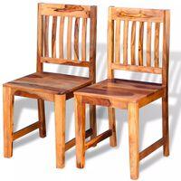 vidaXL Valgomojo kėdės, 2 vnt., masyvi rausvosios dalbergijos mediena