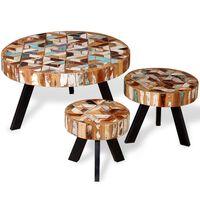 vidaXL Kavos staliuko komplektas, 3 dalių, tvirta perdirbta mediena
