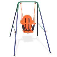 vidaXL Vaikiškos sūpynės su saugos diržais, oranžinės spalvos