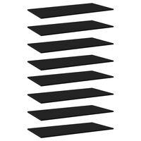 vidaXL Knygų lentynos plokštės, 8vnt., juodos, 80x30x1,5cm, MDP