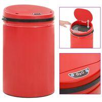 vidaXL Automatinė šiukšliadėžė su jutikliu, raudona, plienas, 30l