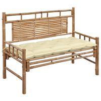 vidaXL Sodo suoliukas su pagalvėle, 120cm, bambukas (41504+314946)