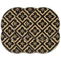 vidaXL Stalo kilimėliai, 6 vnt., juodi, 38cm, džiutas, apvalūs