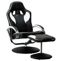 vidaXL Atlošiama žaidimų kėdė su pakoja, baltos spalvos, dirbtinė oda