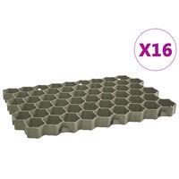 vidaXL Žolės-vejos koriai, 16vnt., žali, 60x40x3cm, plastikas