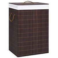 vidaXL Skalbinių krepšys, rudos spalvos, bambukas, 72l