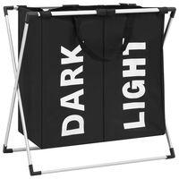 vidaXL 2 skyrių skalbinių rūšiavimo krepšys, juodos spalvos