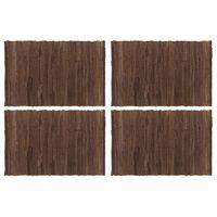 vidaXL Stalo kilimėliai, 4 vnt., vienspalviai rudi, 30x45cm, medvilnė