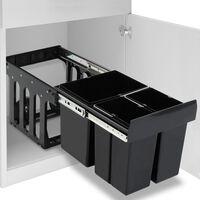 vidaXL Ištraukiama virtuvės spintelės šiukšliadėžė rūšiavimui, 48l