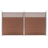 vidaXL Tvoros rinkinys, rudos spalvos, 353x185cm, WPC, 2 kvadratinės
