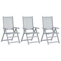 vidaXL Atlošiamos sodo kėdės, 3vnt., pilkos spalvos, akacijos masyvas