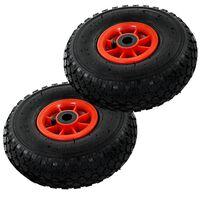 vidaXL Rankinio krovinių vežimėlio ratai, 2vnt., guma, 3.00-4 (260x85)