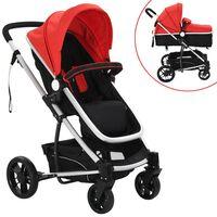 vidaXL 2-in-1 Vaikiškas sulankstomas vežimėlis, aliuminis, raud./juodas
