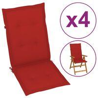 vidaXL Sodo kėdės pagalvėlės, 4vnt., raudonos, 120x50x4 cm
